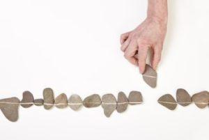 Steine in einer Linie